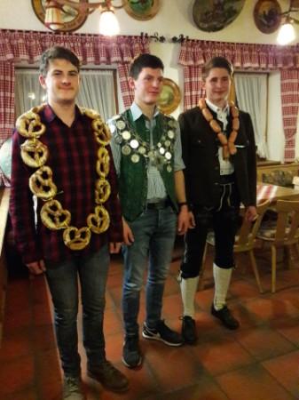 Brezenkönig Enzo Bachmann, Jungschützenkönig Jakob Hopf, Wurstkönig Stefan Mühlberger